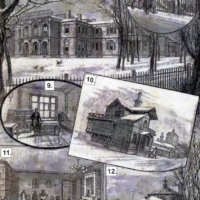 IIEM (1891): 7. Room for dogs (inside view). 8. Chemical laboratory (north side). 9. Vaccination room. 10. Room for monkeys (outside view). 11. Reception 12. Greenhouse.